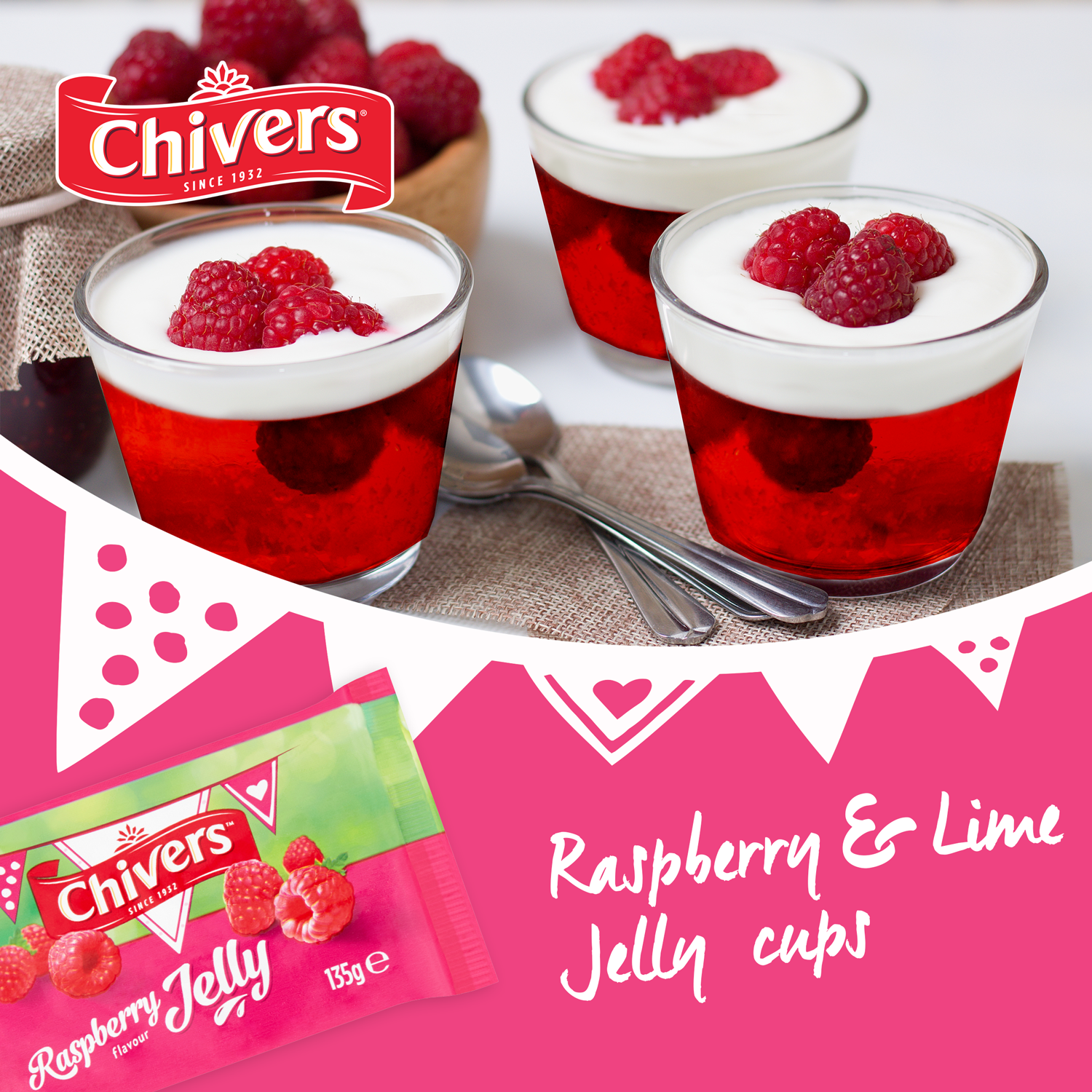 Raspberry & Lime Jelly Cups
