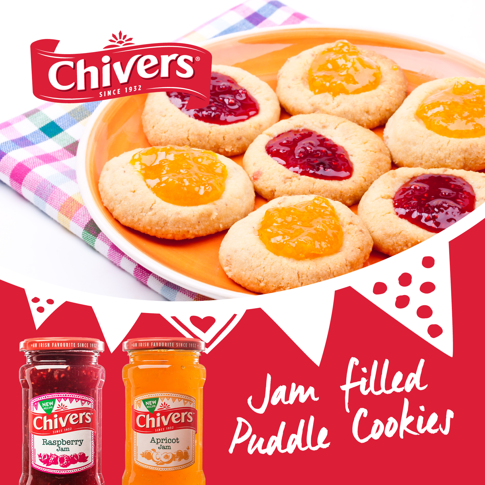 Jam filled 'Puddle' Cookies
